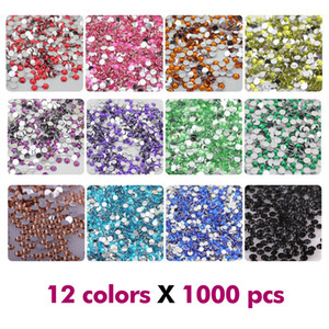 Nail Art Rhinestones Crystal Micro Diamond Flatback Glue Fixed Non Hotfix Rhinestone Decoration Clothing DIY 12Colors x 1000Pcs 2mm   3mm