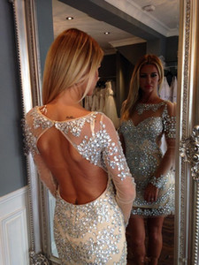 Custom Made Luxury Rhinestone Bodice Cocktail Party Dresses Long Sleeves Open Back Club Wear Short Prom Gowns on Sale
