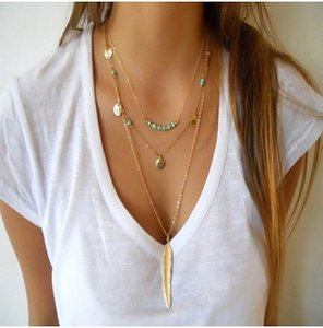 Wholesale Fashiion Multi Layered Necklaces Silver Gold Tone Turquoise Feather Sequin Shape Necklaces cm Necklaces Womens Jewelry