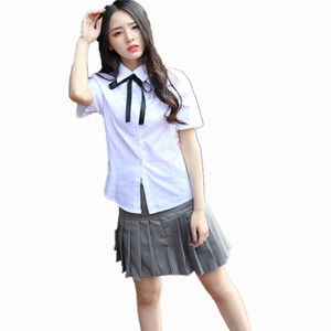 Japanese Girl School Uniforms Korean Student Female White Shirt + Gray Pleated Skirt Class Service Suits Costumes For Women