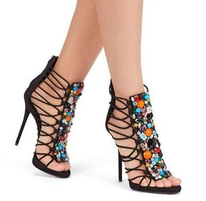 sandalias con cuentas al por mayor-Colorful Beadings Women Shoe sandalias de tiras de gamuza negra Crystal Studded High Heels Gladiator Sandals s Stiletto Lady Party Shoes