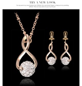 Wholesale new Beautiful fashion silver Diamond Pendant necklace and earrings jewelry sets for women Best gift for girl friend