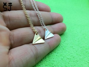 Wholesale 10PCS N008 Tiny Paper Plane Necklace Harry Styles Airplane Necklace Aircraft Pendant Origami Plane Necklaces for Men Women