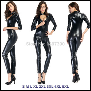 Wholesale S XL Plus Size Black Faux Leather Hollow Out Jumpsuits Open Bust Latex PVC Wet Look Catsuit Sexy Bodycon Bodysuit Cat Women Lingerie