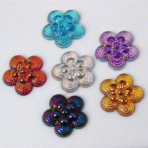 Wholesale acrylic rhinestones for sale - Group buy 100PCS mm AB Color Flowers Rhinestone Flatback Beads Acrylic Rhinestone Crystal Stones No Hole ZZ294