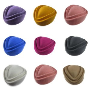 Wholesale Fashion Wool Air Hostesses Cap Cocktail Fascinator Base Pillbox Hat Millinery Base DIY Craft Making A049