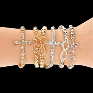 Wholesale Women Crystal Rhinestone Cross Love Infinity Stretch Diamond Beaded Bracelets Bangles Gift Gold Silver Beaded Chain Bracelets Christmas Gift