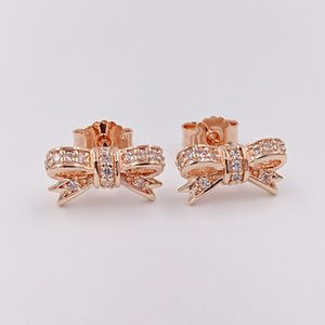 Authentic 925 Sterling Silver Sparkling Bow Earrings Fits European Pandora Style Jewelry 280555CZ Rose Gold Plated Studs