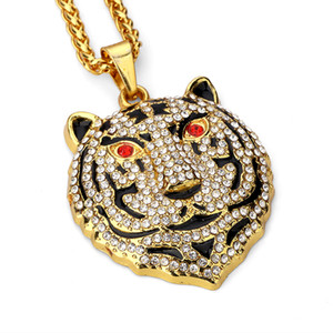 Wholesale New Men Animal Bear Pendant Necklaces Fashion Hip Hop Jewelry Full Rhinestone Filling Pieces Men k Gold Plated cm Long Chain