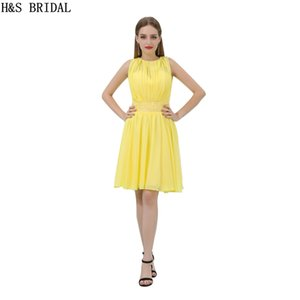 Short Chiffon Homecoming Dresses Beading Yellow Sheer Neck Cocktail Dress Charming Girls Cheap Party Gowns B012