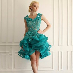 Wholesale Sexy Turquoise Short Lace Prom Dresses Appliques Handmade Flower Sexy Tulle Backless Prom Party Dress Formal Evening Gowns Custom Design