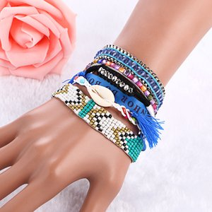 Wholesale New Arrival Handmade Colorful Bohemian Bangle Weave Beaded Coins Shell Multilayer Tassel Magnetic Bracelets For Women Jewelry