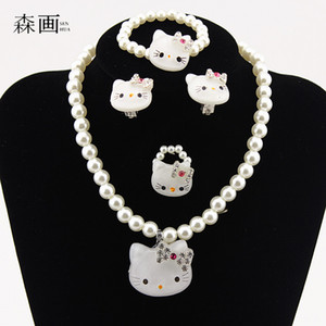 Wholesale SENHUA Kids Baby Girls Princess necklaces Crystal KT Cat Necklace Bracelets Imitation Pearl Beads Jewelry Set Children Party Gift TZ40