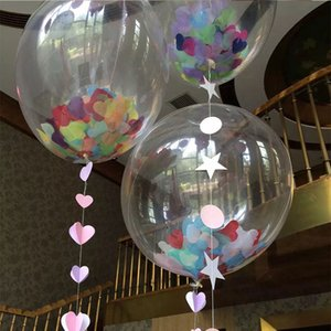 Wholesale 36inch Giant Clear Plastic Confetti Filled Balloons Birthday Parties Wedding Valentine s Day Decorated ZA4176