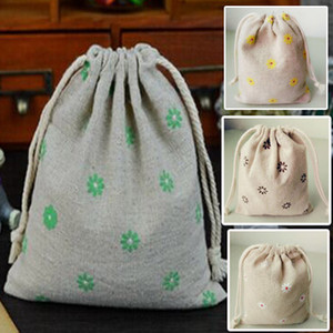 Wholesale Fabric Linen Gift Bags Daisy printed x15cm quot x6 quot Baby Shower Wedding Party Favor Holder Jewelry Drawstring Pouches