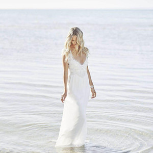 New Design Bohemian Beach Wedding Dresses Lace Chiffon Luxury Pearls Cap Sleeve Sexy Deep V-Neck Backless Bridal Gowns Robe De Mariage W705 on Sale