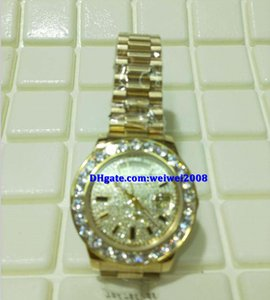Wholesale Christmas gift swiss Luxury watches top brand Automatic K Yellow Gold President Pave big Diamond Dial Bezel