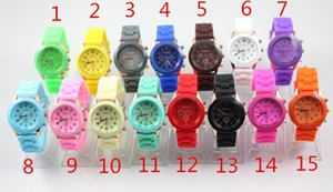 Wholesale geneva watches resale online - Geneva Silicone Watches Candy Jelly Wristwatches Unisex Men Women Quartz Casual Sport Watch Top Quality
