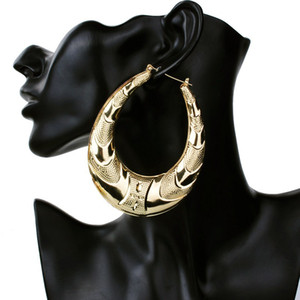 Wholesale- Gold Large Big Metal Circle Bamboo Hoop Earrings for Women Jewelry fashion hip hop exaggerate earrings hot sale