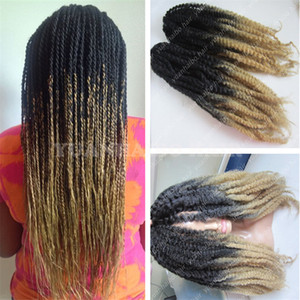Stocking 20in fold 1bT27 kinky twist marley braids fiber ombre color synthetic braiding hair free shipping