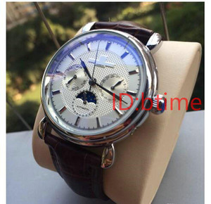 Wholesale 2019 New Brown Leather Fashion Mechanical Men s Stainless Steel Automatic Movement Watch Sports mens Self wind Watches Wristwatches