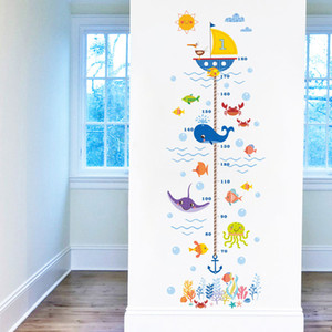 Wholesale height charts for wall for sale - Group buy Hot New Underwater World Kids Growth Chart Height Measure For Home Kids Rooms DIY Decoration Wall Stickers