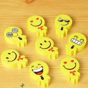 Wholesale Emoji Eraser Cartoon Creative Smile Face Yellow Rubber Non Toxic Stationery Cute Emotion Erasers For Pencil Useful xk F R