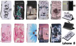 Painted sunflower cat elephant rat tower flip leather case for iphone X 8G PLUS 7 6S plus Samsung S8 PLUS NOTE8 Card wallet with stand