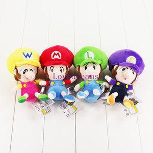 New Sale 4 Pcs Set Super Mario Bros (no Phone chains) 4 Styles Plush Toy Baby Mario Luigi Wario Waluigi Soft Stuffed Dolls for Children