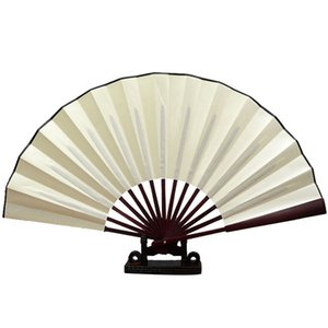Wholesale Chinese Black Fabric Cloth Handheld Folding Fan For Pratice Performance Dancing Ball Parties Unisex Two Size inch Colors Select