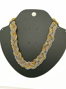 2017 new Wholesale Handmade Chunky Chain Bid Choker Braid Two Tone three kind of Chain mixed metal Necklace
