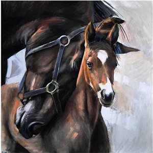 Wholesale New diy diamond painting cross stitch kits resin pasted painting full round drill needlework Mosaic Home Decor animal horse family YY0157