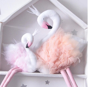 Wholesale Handmade Pink Flamingo Decorations Supplies Room Decorations Cute Stuffed Animal Toys Baby Swan Pillow Cushion Kids Dolls Wedding Toys Gifts