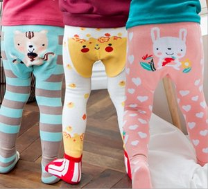 Wholesale Animal Baby Tights Autumn Cartoon Stripe Boys Girls Leggings fox Penguin Deer Christmas Toddler Tight with Socks Brand Clothes C1652