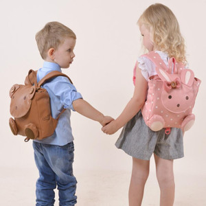 Wholesale Children Fashion Backpack Daypack Cartoon Rabbits Bears Schoolbag PU Sport School Bag Outdoor Day Pack for Kids Bags