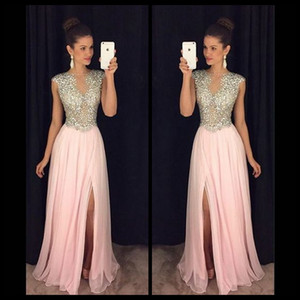 Wholesale Luxury Crystal Beading Long Prom Dresses Sexy High Slit Pink Chiffon Evening Party Gowns Sheer Neck 2017