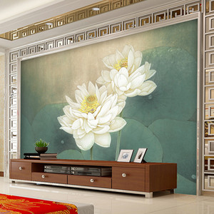 large Custom wall Mural Wallpaper Lotus Painting Living Room Sofa TV Background Restaurant home decor WallMurals Wallpaper Custom Size