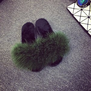 4 color Ostrich Hair Slippers Fur Furry Slide Flip Flops Women Home Slippers Female Sweet Fenty Indoor Soft Comfotable