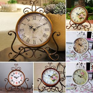 Wholesale Vintage Metal Round Clock Creative Home Living Room Bedroom Decor 16 Style Table Floor Clocks Free Shipping WX9-43