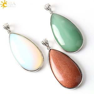 Wholesale CSJA Water Drop Natural Balance Stone Rose Quartz Amethyst Jade Opal Hollow Buckle Slide Necklace Pendants Charm Jewelry for Women E243 B