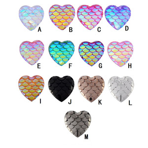Wholesale 12MM Heart Mermaid Scale Resin Cabochons Druzy Drusy Fish Scales Flat Back Supplies for pendant earrings Jewelry Finding