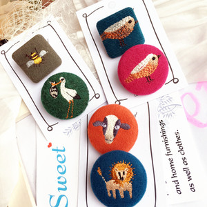 brooch with pattern bird puppy bee lion lamb embroidery fabric clothing made green pink orange beige color cartoon lapel pins for lady girls