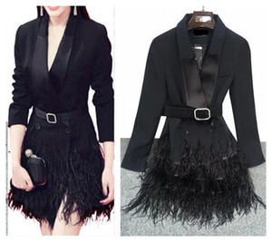 Wholesale 2017 new star same style women s sexy fashion long sleeve v neck ostrich fur feather patchwork medium long blazer suit coat dress SMLXL