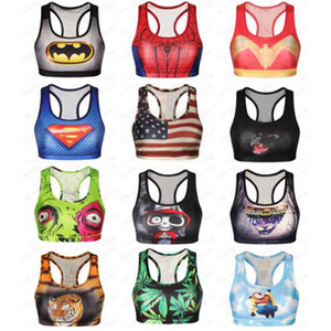 Wholesale Spider man Sports Bras Women D Print Batman Bras Superman Tank Skull Cat Tiger Vest Fitness USA Flag Gym Elastic Tops