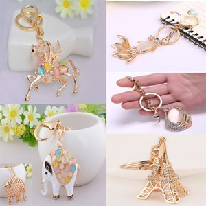 Rhinestone Crystal Pendent Horse Fish Eiffel Tower Bear Fox Clothing Accessories Handbag Decoration Keyrings 9 Style C150Q