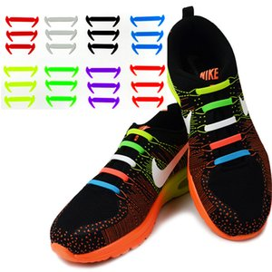 Wholesale 12pcs Set New No Tie Silicone Shoe Laces Creative Shoelaces For Unisex Women Men Running Elastic Silicone Shoe Lace All Sneaker