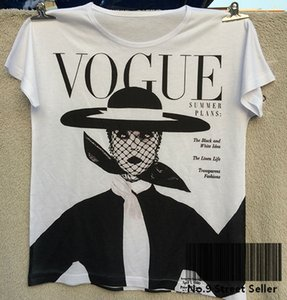 Wholesale Track Ship Vintage Retro Good Feeling T shirt Top Tee Vogue Black and White Idea Hat Old Style Woman Fashion