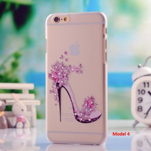 3D Rhinestone Smooth Transparent PU Cases For iPhone 7 7 plus 6s 6 Plus iphone 5s Case Edge Electroplaiting Diamond Shining Painting