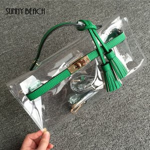 SUNNY BEACH High quality women messenger handbag tassel clutch transparent clear bag plastic leather bag day evening purse on Sale