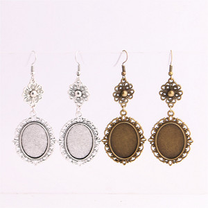Wholesale SWEET BELL Metal Alloy Zinc Flower Charm Fit Oval mm mm Cabochon Base Pendant Drop Earing Jewelry Making C0855